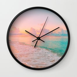 Beautiful: Aqua, Turquoise, Pink, Sunset Relaxing, Peaceful, Coastal Seashore Wall Clock