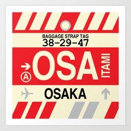 OSA Osaka • Airport Code and Vintage Baggage Tag Design Art Print