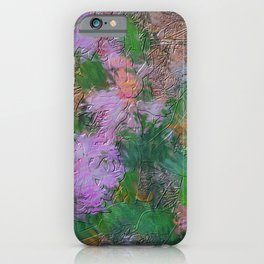 Embossed Impressionist pink flowers iPhone Case
