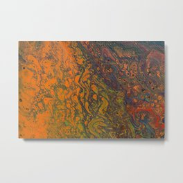 Fluid Art Acrylic Painting, Pour 16, Orange, Purple, Green & Red Blended Color Metal Print