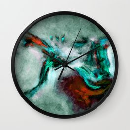 Surrealist and Abstract Painting in Turquoise and Orange Color Wall Clock