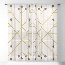 Mod Snowflake Olive Sheer Curtain