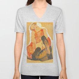 "Egon Schiele ""Woman in Black Stockings"" Unisex V-Neck"