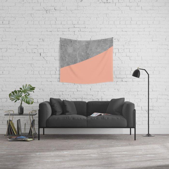 Geometry 101 Sweet Peach Pink Wall Tapestry