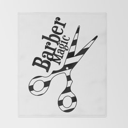 Barber Magic - black and white Throw Blanket