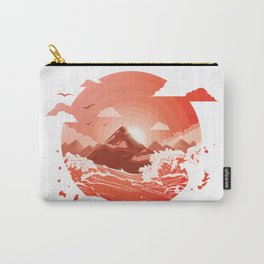 Red bloody sunset over the mountain Art Carry-All Pouch