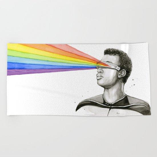 Geordi Rainbow Watercolor Portrait Geek Sci-fi Beach Towel