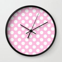 White polkadots dots polkadot circles on pink #Society6 Wall Clock
