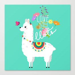 Floral llama with butterfly Canvas Print