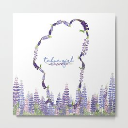 Tahoe Girl Lupine Meadow Metal Print