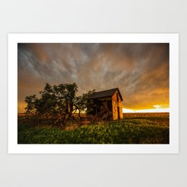 Basking in the Glow - Old Barn In Warm Sunlight in Oklahoma Art Print