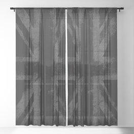 Grey Grunge UK flag Sheer Curtain