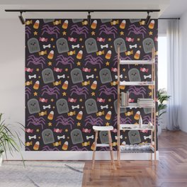 Happy halloween pattern with graves, spiders, sweets and bones Wall Mural