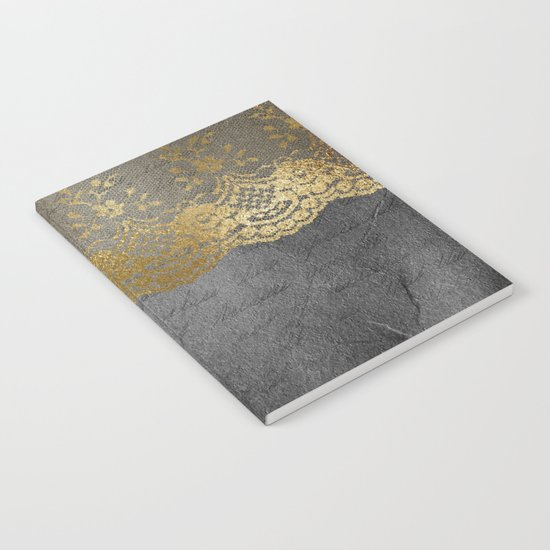 Pure elegance I- gold glitter luxury lace on black grunge background on #Society6 Notebook