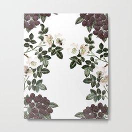 Blackberry Spring Garden - Birds and Bees Floral II Metal Print