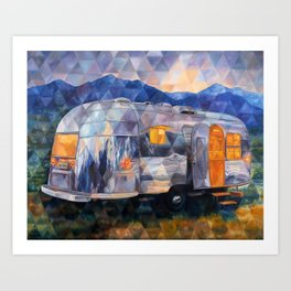 Road Trippin Airstream Art Print