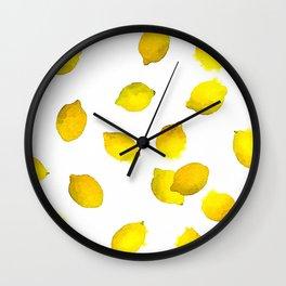 Lemon Watercolor Pattern Wall Clock