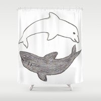 yin yang Shower Curtains featuring Yin & Yang by Chelsea Lefevre