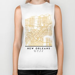 NEW ORLEANS LOUISIANA CITY STREET MAP ART Biker Tank