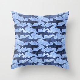 Blue Ocean Shark Throw Pillow