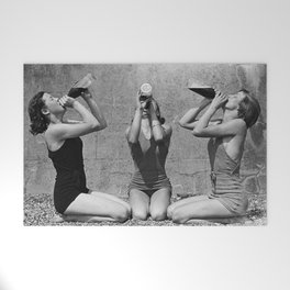What the girls drink when the guys aren't looking - three girlfriends drinking at the beach black and white photograph Welcome Mat