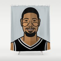 tim burton Shower Curtains featuring Tim Duncan by Will Wild
