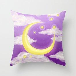 Moon Purple Throw Pillow