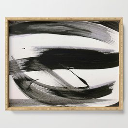Brushstroke 9: a bold, minimal, black and white abstract piece Serving Tray