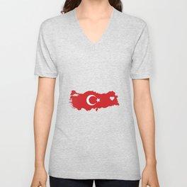 Love Turkey Gift Turkish Pride Heart Unisex V-Neck