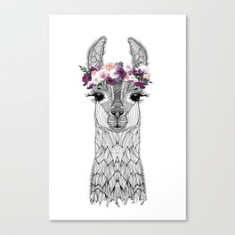 FLOWER GIRL ALPACA Canvas Print
