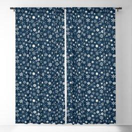 Blue & White Christmas Snowflakes Blackout Curtain