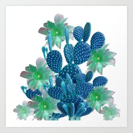 SURREAL BLUE PEAR CACTUS & FLOWERS DESERT ART Art Print