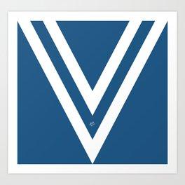 Blue V Abstract Retro Design Art Print