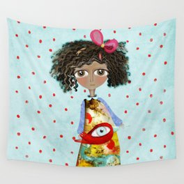 Red Bird Pet Doll Grungy Polka Dots Wall Tapestry