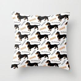 Black Tan Smooth Dachshund Throw Pillow