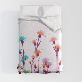 Cute watercolor flowers Comforters