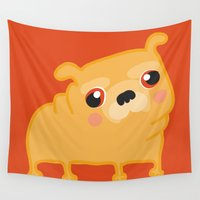 pug Wall Tapestries featuring Pug  by Maripili