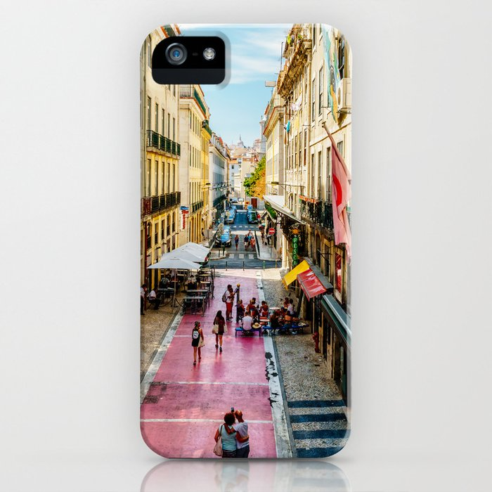 Beautiful Pink Street Downtown Lisbon City, Wall Art Print, Modern Architecture Art, Poster Decor iPhone Case