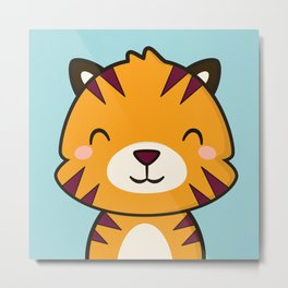 Kawaii Cute Tiger Metal Print