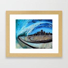 Chicago Through Wave Framed Art Print