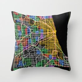 Chicago Street Map in NEON Throw Pillow