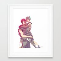kuroko Framed Art Prints featuring kagakuro kiss by jensuisdraws