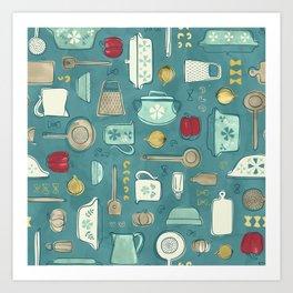 Vintage Kitchen Utensils / Teal Art Print