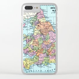 Vintage Map  of England and Wales Clear iPhone Case