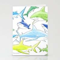 sharks Stationery Cards featuring sharks by Kathryn Rickards