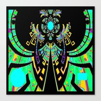 calender Canvas Prints featuring Aztec Malachite Dragon Calender by SharlesArt