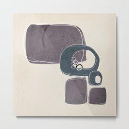 Retro Abstract Design in Peninsula Blue and Aubergine Metal Print