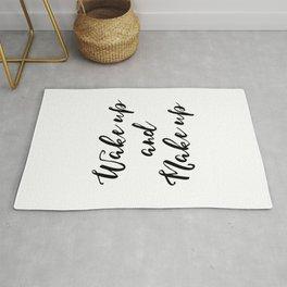 Bedroom Wall Decor,Vanity Decor, Wake Up and Make Inspirational Print, Printable Glamour, Makeup Art Rug