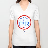 puerto rico V-neck T-shirts featuring Made in PR - Puerto Rico by DCMBR - December Creative Group