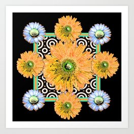 Peachy Orange Gerbera & White Daisy Black Pattern Art Art Print